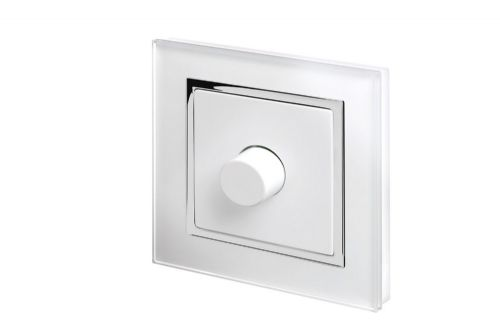 RetroTouch 1 Gang 2 Way Dimmer Switch 3-200W LED & Halogen White Glass CT 02040